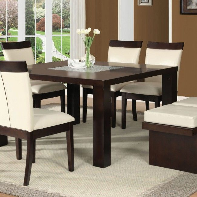 acme keelin dining table in espresso and crackle glass in 2019 rh pinterest com