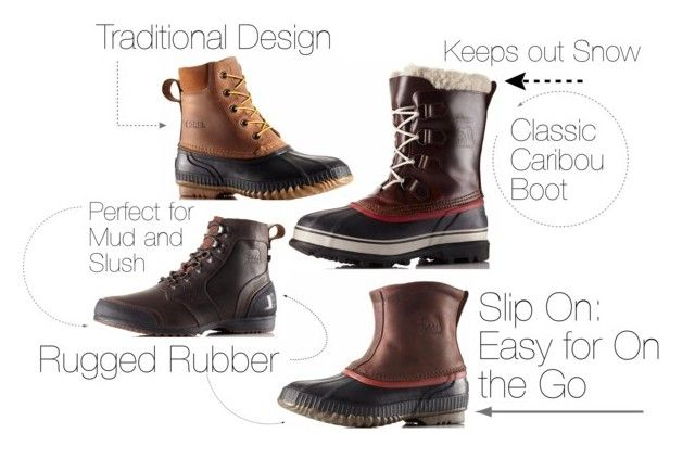 """""""Sorel Mens Boots Buying Guide"""" by stbernardsports ❤ liked on Polyvore featuring SOREL and Sorel"""
