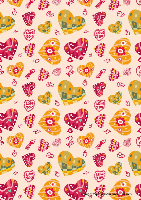 Papel de corazones para imprimir forros de cuadernos isa for Papel decorativo pared infantil
