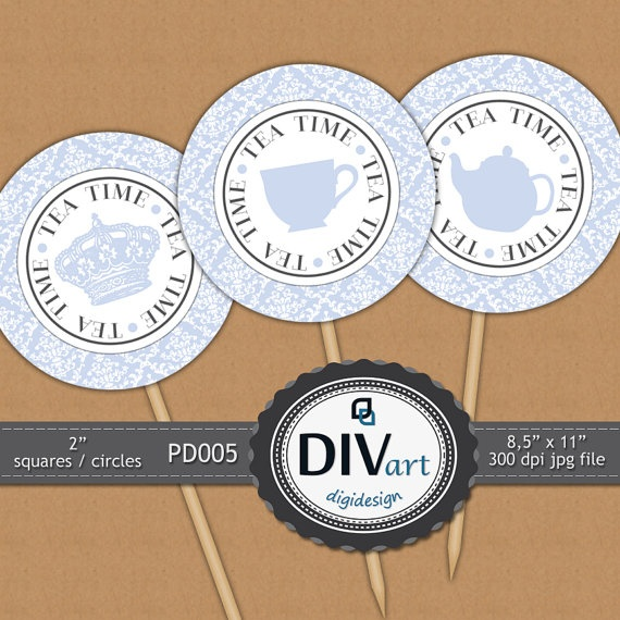 PRINTABLE Party Decorations  PD005  2 squares/circles  by DIVart, $3.00