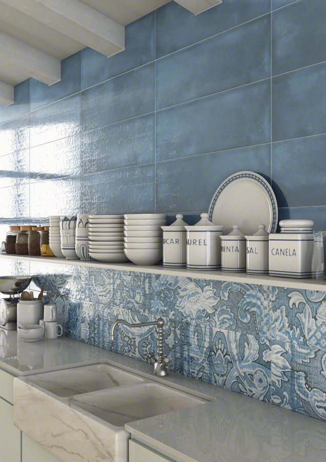LATERZA: Laterza Azul, Nevers Azul 25x75cm.   Wall Tiles White Body   VIVES Azulejos y Gres S.A. #kitchen #tile #style
