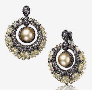 Titanium Pearl Black Diamond Earring
