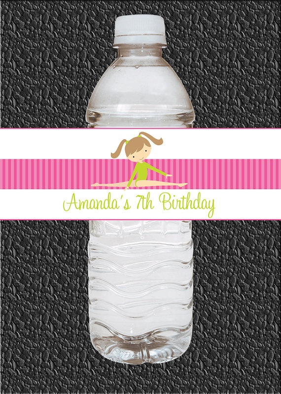 Makenna wants this theme..Custom Gymnastics Birthday Party Water Bottle by WoodsDesignStudio, $11.25