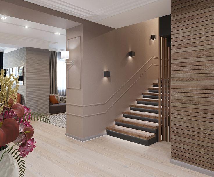 Второй вариант цветового решения для холла 1 этажа. Интерьер гостиной-студии в частном доме. Оформление лестничного марша. Дизайн гостиной. Дизайн-проекты удаленно: 8-929-335-98-40