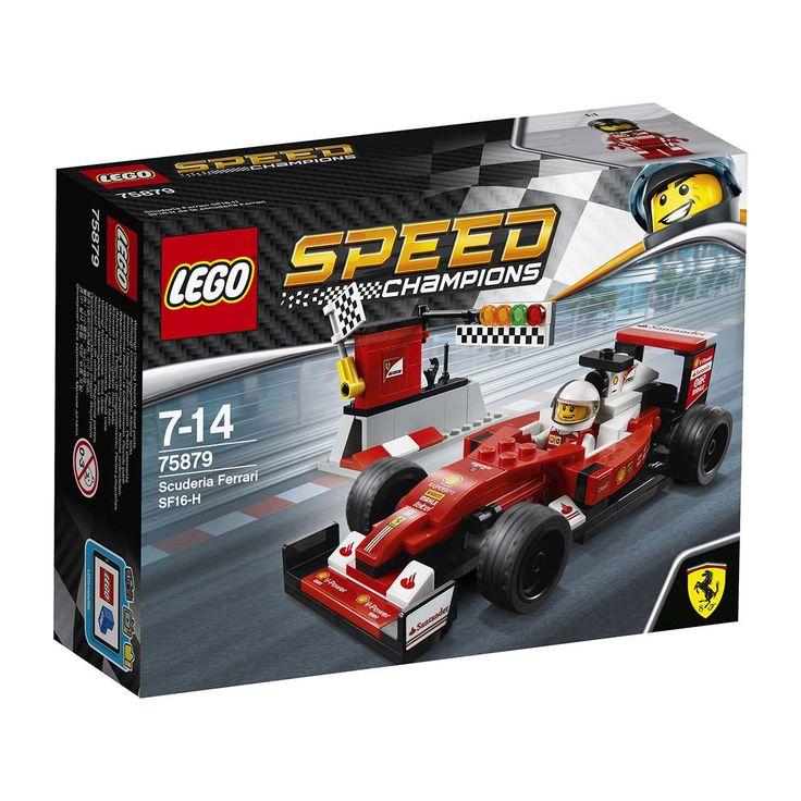 Maak deze LEGO® Speed Champions versie van de Scuderia Ferrari SF16-H klaar voor de race en schiet ervandoor! Bij de set hoort een pitmuur met start-/finishlijn en een coureur-minifiguur.  Leeftijdsadvies: vanaf 7 jaar