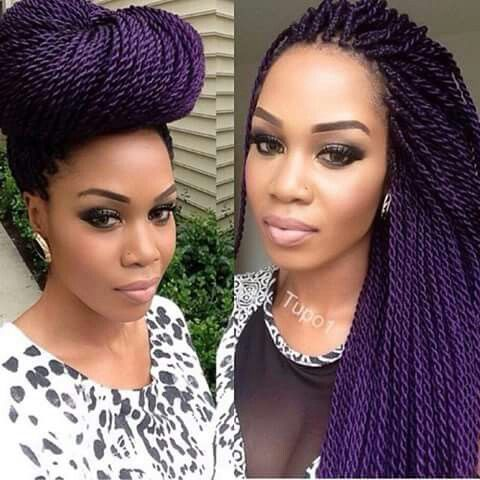 @tupo1, purple Senegalese twists.