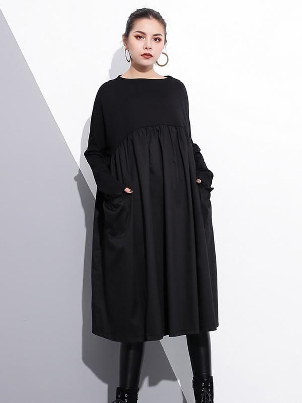 99dff86ebd Loose Black Split-joint Long Sleeves Dress in 2019