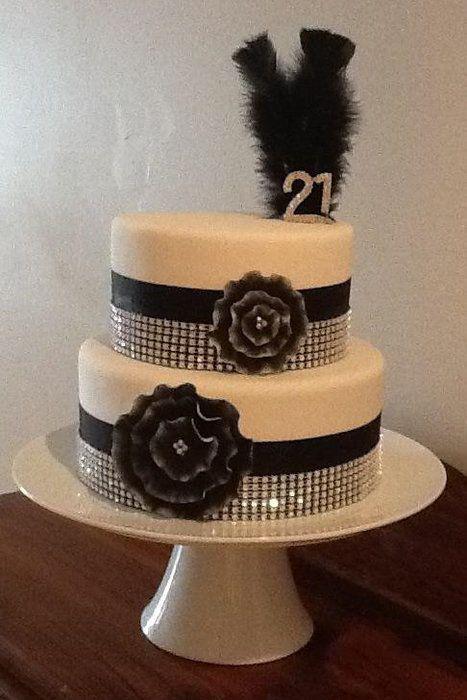 Black, White & Bling 21st Cake - Cake by Kim Jury - CakesDecor