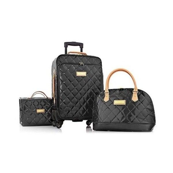 Joy IMAN 4-piece Iconic Quilted Patent Luggage Set with Handbag RICH... ($128) ❤ liked on Polyvore featuring bags and luggage