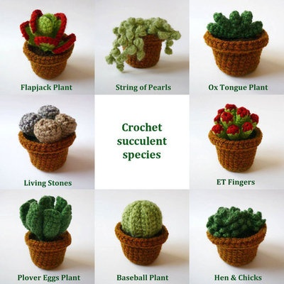 Crochet Amigurumi Plant Patterns Free : Crochet Cacti/Succulent Plant in Pot by LunasCrafts ...