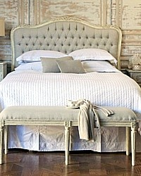 Eloquence Sophia Upholstered Tufted Headboard Old Cream-queen, King, white, upholstered,swedish,shabby chic,bed,furniture
