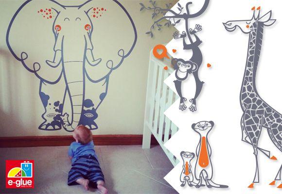 Stickers pour chambre b b et chambre enfants sur le th me - Stickers chambre bebe jungle ...