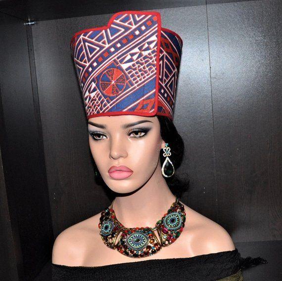 Nefertiti Hat Open Crown Queen Nefertiti Inspired Hat Etsy Classy Hats African Hats Queen Nefertiti
