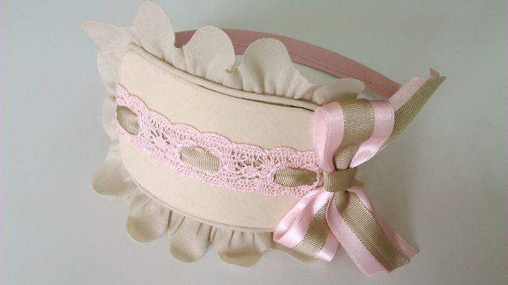 Diadema rosa y camel,www.lazosiris.com