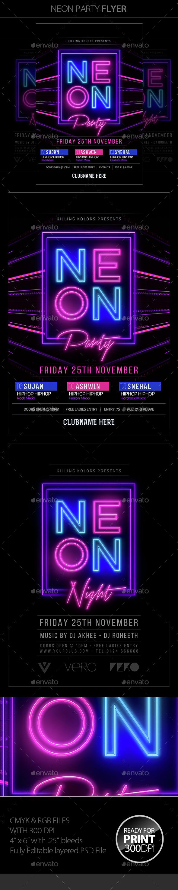 Neon Party Flyer  — PSD Template #poster #led • Download ➝ https://graphicriver.net/item/neon-party-flyer/15013116?ref=pxcr
