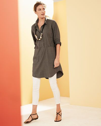 b819563ff8 Eileen Fisher Linen Viscose Stretch Shirtdress