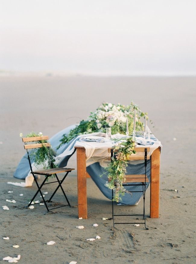table decor from Cannon Beach Oregon styled shoot http://www.trendybride.net/cannon-beach-oregon-styled-shoot/