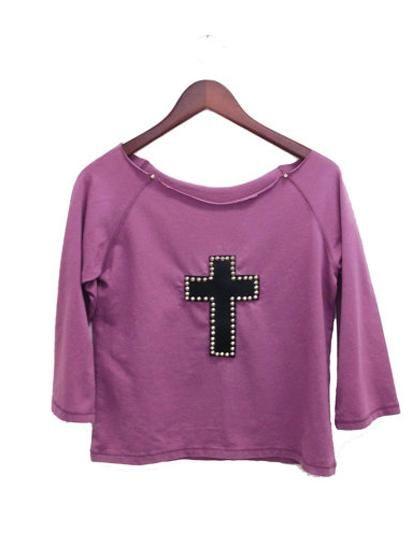 studded leather cross shirt purple mauve black goth