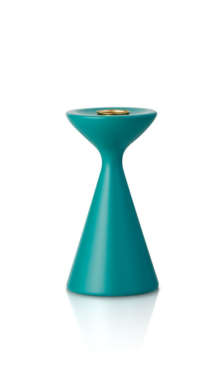 Inga™ Candleholder, Small, Petrol Green No. 17, in lacquered beech wood. FREEMOVER. Inga™ comes in two sizes, same color scheme as Rolf™ Candleholders. Design Maria Lovisa Dahlberg since 2004.