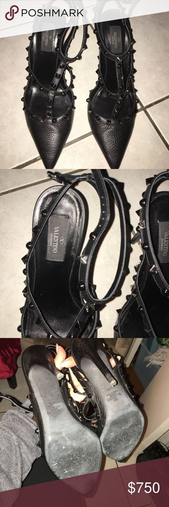 Valentino Rockstud pumps Black with gunmetal grommets.  So sexy and I'm amazing condition.  Worn once. Size: 41, fits like a us 10. Valentino Shoes