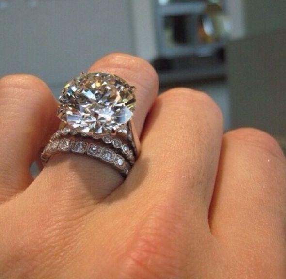 Biggest Moissanite Ring You Ve Seen White Diamond Rings Engagement Wedding Rings Engagement Wedding Ring Sets