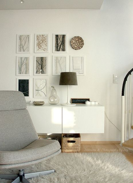 Ikea Besta Shelves Mounted on the wall in living room