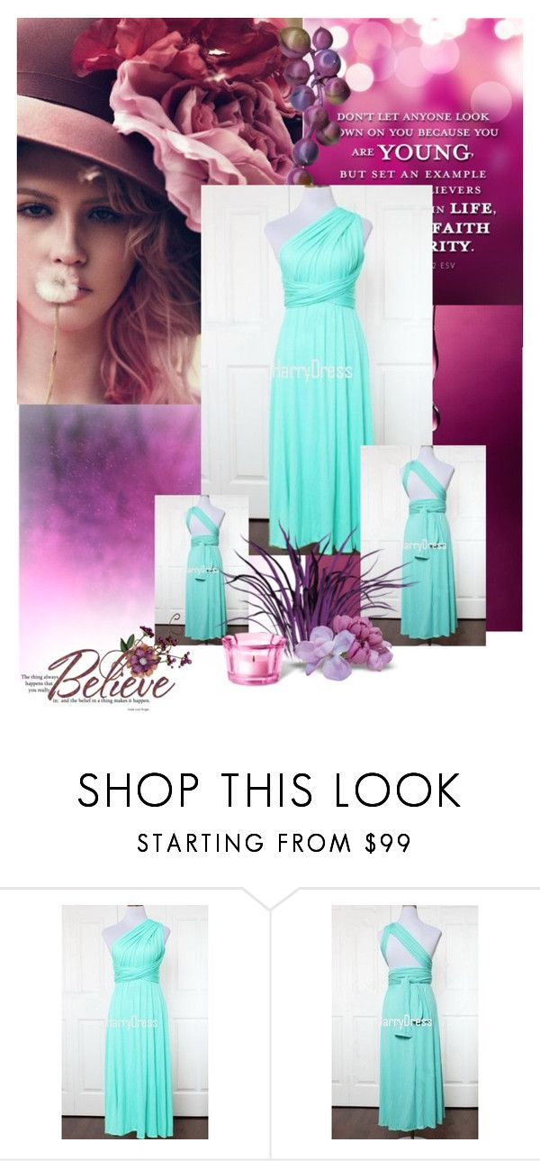 """""""Light Green A Line One Shoulder Jersey Ankle Length Ruffles Bridesmaid Dress"""" by harrydress ❤ liked on Polyvore"""