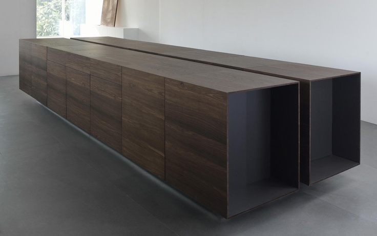 : Cabinets, Interiors Kitchens, Conjoined Islands, Counter Spaces, Dark Wood, Kitchens Islands, Kitchen, Spaces Kitchens, Flats Black