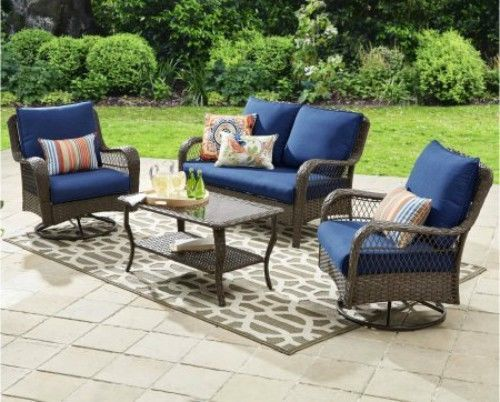 Outdoor Wicker Furniture Set Sofa Coffee Table 2 Swivel Armchairs Conversation   #OutdoorFurniture