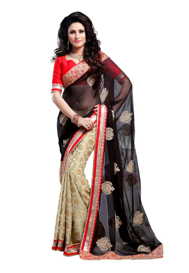 #Black & Cream Colour Saree with #red #Blouse