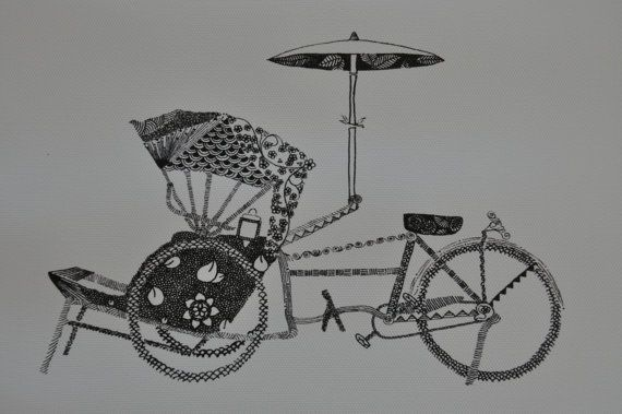 trishaw - original pen and ink drawing on Etsy, $23.00 AUD