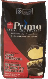 Use Primo Natural Lump Charcoal to fuel your Primo Grill. Natural lump charcoal burns cleaner, hotter, longer and produces less ash than briquette style charcoal. Each bag contains 20 pounds of lump charcoal.
