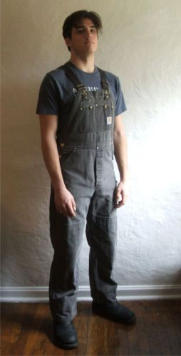 Black Carhartt Bib Overalls Very Faded Not Insulated