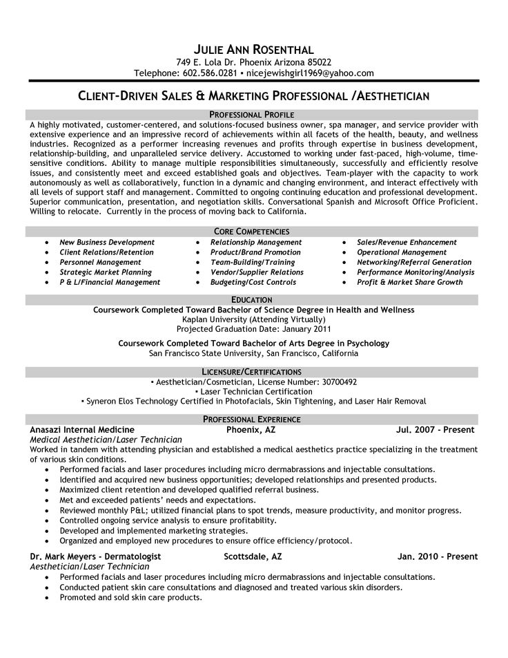 Combined Resume For Spa Director   Google Search  Combined Resume