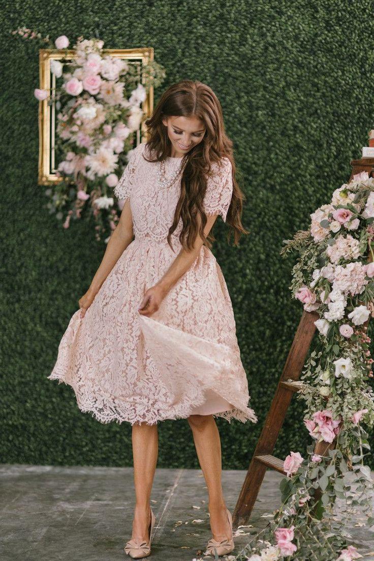 Fleur Blush Pink Lace Midi Dress