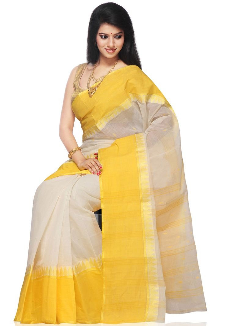 Yellow and Off White Cotton Tant Handloom Saree with Blouse: SPN1893