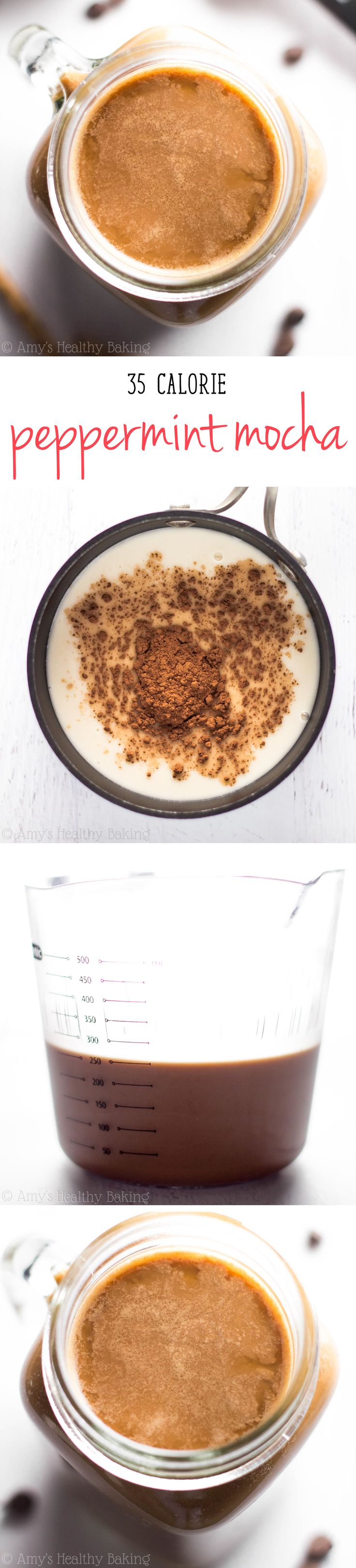 Skip the coffee shop & make this skinny mocha at home for a fraction of the price! My family BEGS for this during the holidays, thanks to one creamy (and healthy!) secret ingredient!