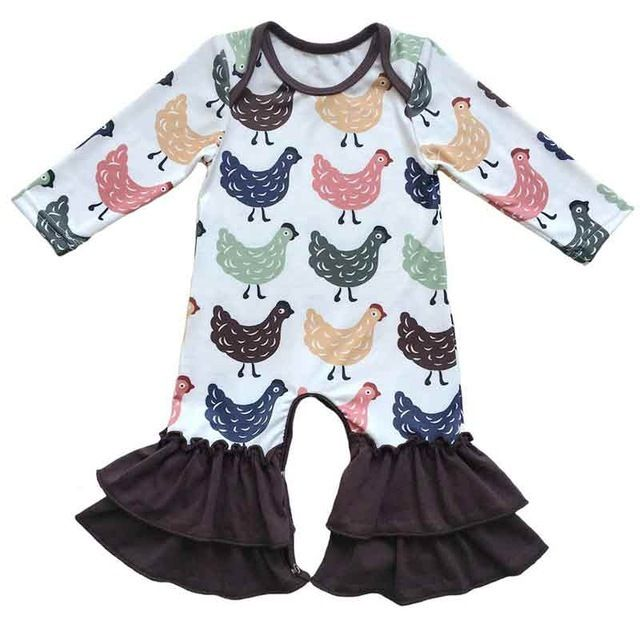 Baby Girls Boutique Outfit, Girl Boutique Outfit, Girls Farm Boutique Romper, Girl Chicken Romper, Chicken Romper Brown Trim, Girls Boutique Clothing - BellaPiccoli