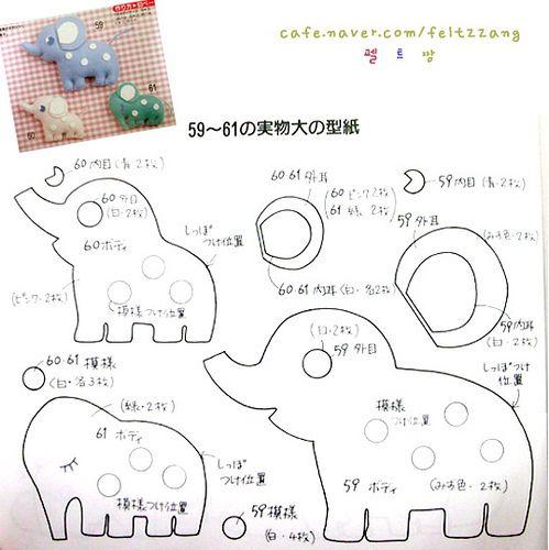 Moldes e pap em feltro e feltro estampado!: molde elefante de feltro