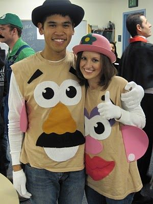 Mr. & Mrs. Potato Head costumes - I don't want to over complicate things, but it WOULD be fun if the facial features were removable & you could rearrange them. just sayin