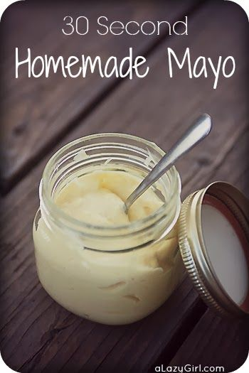 "30 Second Homemade Mayo-The other day I Googled ""Easy Homemade Mayo"" and this recipe came up, so I decided to give it a go. Oh.My.Goodness. You don't understand how easy it was. Crazy easy. It could not have taken more than 30 seconds for the whole thing to come together."