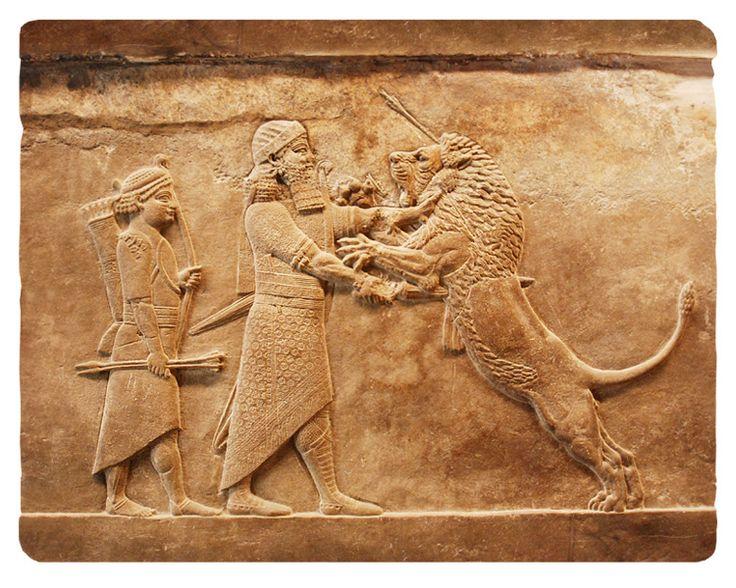 Ашшурбанипал на охоте. Рельеф из дворца в Ниневии, 640 г. до н.э. Характерно: изображение людей - по канону. Животных - в свободной форме, живо и естественно (см. проработку мышц).