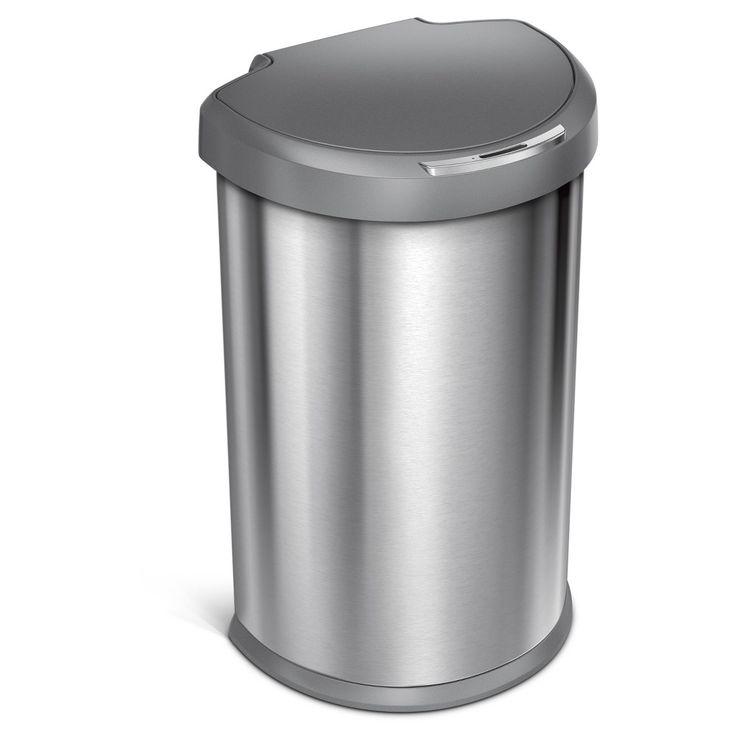 Simplehuman studio 45 Liter Semi-Round Sensor Trash Can, Stainless Steel (Silver) - Gray Plastic Lid