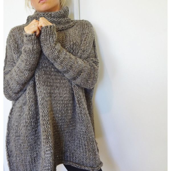 Oversized Chunky Knit sweater.slouchy/bulky Loose Sweater Marble Gray. ($138) ❤ liked on Polyvore featuring tops, sweaters, grey, women's clothing, chunky knit sweater, slouch sweater, loose tops, gray sweater and loose fit sweater