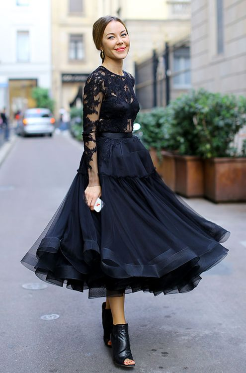 Black lace top cinched with belt, chiffon full petticoat skirt, black leather…