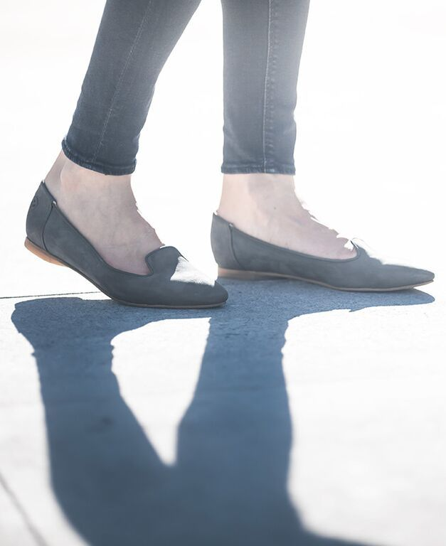 The Must-Have Fall and Winter Colour: Gotham Grey. Poppy Barley offers women's made-to-measure shoes in sizes 5-12 and are customized to fit narrow, standard or wide feet. Featured here is our leather, ethically made feminine slipper designed to for comfort and style   PB Magazine   Vol. 2