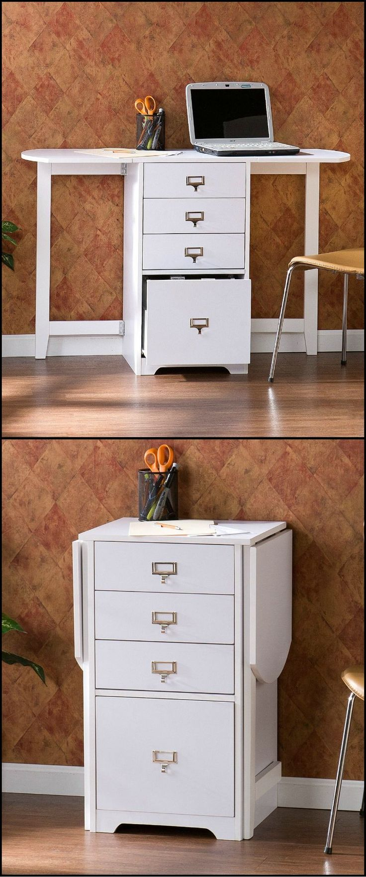 "Whether you need organization in the craft room, home office, or bedroom this folding organizer desk is a great space saving solution.  http://theownerbuildernetwork.co/8w2n  With the leafs on each side folded down, this desk is as small as a common end table or file cabinet. Open both sides for a very functional 48"" work area.  In addition there are three small drawers to make room for common items and a lower letter file that's perfect for bills and paperwork."