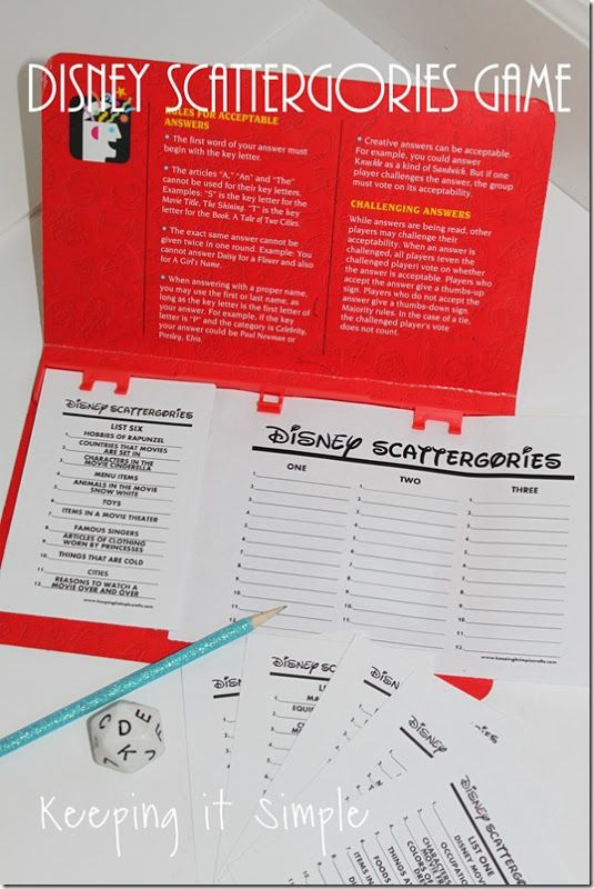 Game for a party or game night- Disney version of Scattergories complete with printables #disney @keepingitsimple