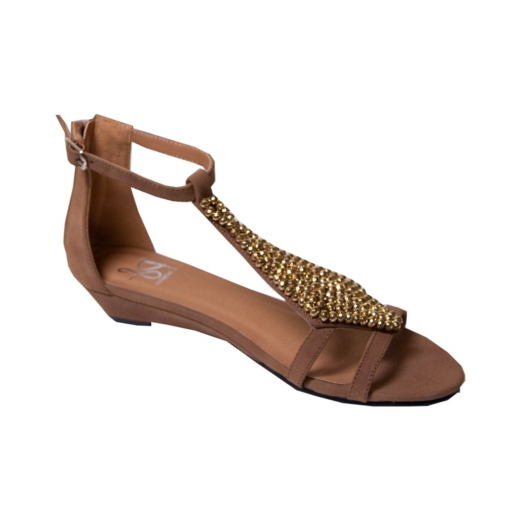Ps Collection Tan Gladiator Sandal with Jewel Detail available online at www.pamelascott.ie just 29.95euro