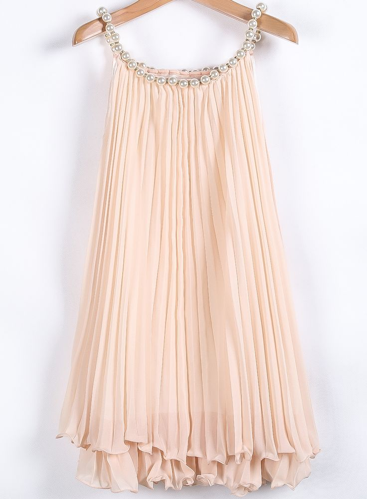 Apricot Bead flapper style Pleated Chiffon A Line Dress with pearl neckline  - Sheinside.com